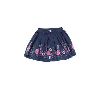 Flapdoodles NEW Navy Blue Girls Size 7 Floral-Embroidered A-Line Skirt 893