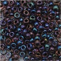 Toho Round Seed Beads 8/0 251 'Luster Lt Amethyst/Jet Lined' 8 Gram Tube