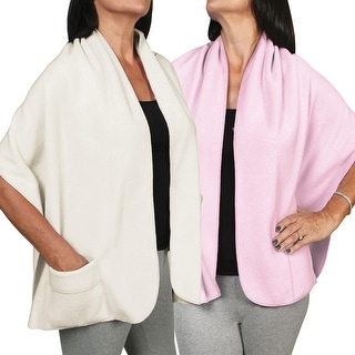 Women's Fleece Pocket Shawl Wrap Set of Two - Light Pink And Ivory - Medium