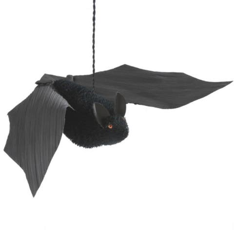 "18.25"" Black Large Bristled Bat Hanging Halloween Figure"