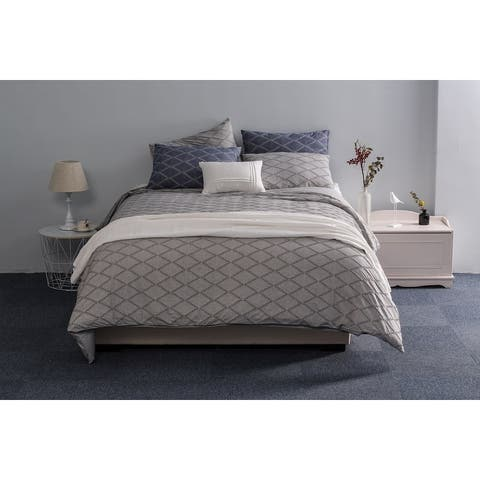 Cotton Duvet Cover Set- Woven Chevron and Diamond Textured