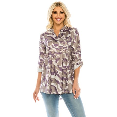 Haute Edition Women's Pattern and Solid 3/4 Roll Tab Sleeve Blouse Tunic Tops
