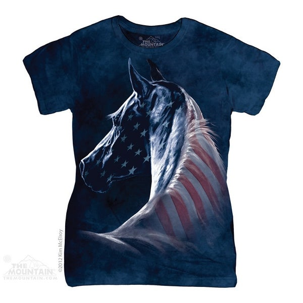 The Mountain Cotton Patriotic Horse Head Novelty Womens T-Shirt