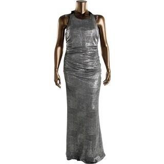 Calvin Klein Womens Evening Dress Metallic Criss-Cross Back
