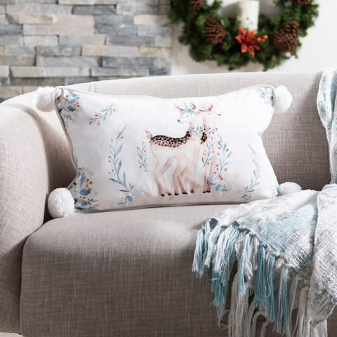 Safavieh Holiday Nutmeg White/Brown 12 x 20-inch Decorative Pillow
