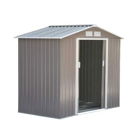 Outsunny 7' x 4' x 6' Large Metal Outdoor Garden Storage Shed for the Backyard with Water Resistance & 4 Airflow Vents