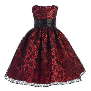 Ellie Kids Little Girls Black Red Raschel Lace Satin Christmas Dress