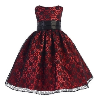 Ellie Kids Little Girls Black Red Raschel Lace Satin Christmas Dress