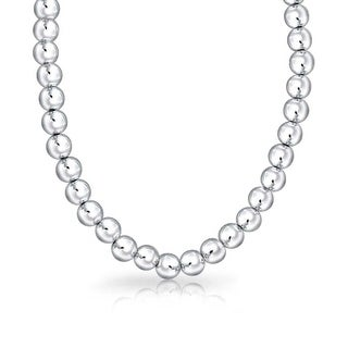 Simple Plain 925 Sterling Silver Ball Round Bead Strand Necklace For Women Polished 16 Or 18 Inch 8MM
