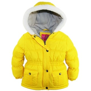 Pink Platinum Little Girls Sherpa Trim Hood Solid Puffer Winter Snow Jacket Coat