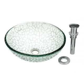 Tempered Glass Vessel Sink with Drain, Textured Frosted Glass Round Bowl Sink