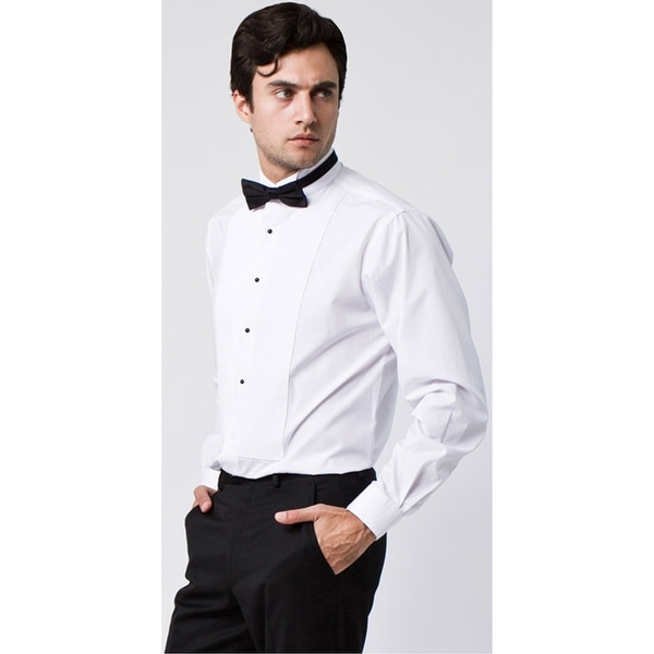 Tuxedo Shirt white lay down collar pleated front shirt with french cuff