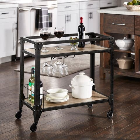 Metropolitan Charcoal Metal and Wood Bar Cart by iNSPIRE Q Artisan