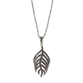 Sterling Silver Labradorite & Black Spinel Feather Pendant Necklace