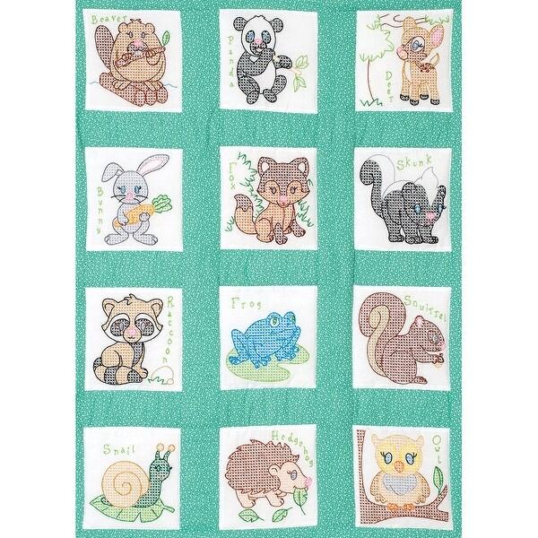 """Stamped White Nursery Quilt Blocks 9""""X9"""" 12/Pkg-Forest Friends"""