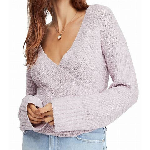 Free People Womens Sweater Purple Large L Faux Wrap Cropped Pullover