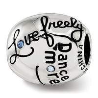 Sterling Silver Reflections Swarovski Elements Crystal Live Laugh Love Talking Bead (4.5mm Diameter Hole)