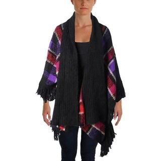 Lauren Ralph Lauren Womens Poncho Sweater Open Front Fringe