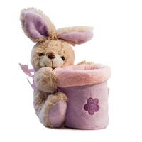 Beverly Hills Teddy Bear Company Springtime Bunny Basket in Purple