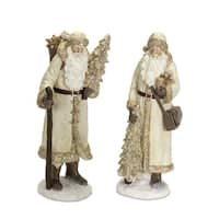 """Set of 2 Brown and Ivory White Santa with Small Tree in Winter Vest Christmas Figure Decoration 13"""""""
