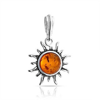Bling Jewelry .925 Sterling Silver Honey Synthetic Amber Flaming Sun Pendant - Orange