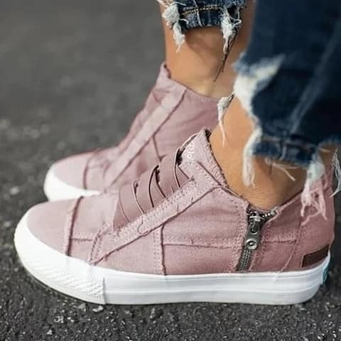 Low Heel Canvas Sneakers In 6 Color Choices
