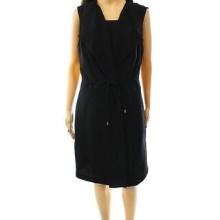 INC NEW Black Long Belted Women's Size XL Two-Pocket Vest Coat Jacket