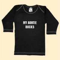 - My Auntie Rocks - Black Long Sleeve T-Shirt - 12-18 Months