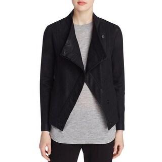 Vince Womens Denim Jacket Coated Long Sleeves - xs