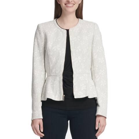 DKNY Womens Jackets Gray Size 16 Metallic Floral Peplum Full-Zip