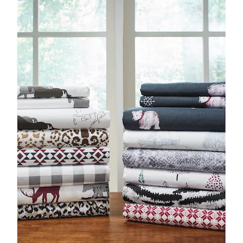 Pointehaven 180 GSM Cotton Flannel Luxury Printed Duvet Set