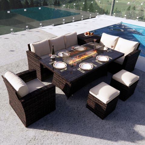 Direct Wicker Patio Wicker Rectangle Dining Sofa Set Firepits Table/Regular table