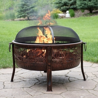 Sunnydaze Northwoods Fishing Fire Pit with Spark Screen - 30-Inch Diameter
