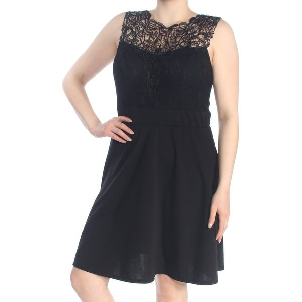LOVE SQUARED Womens Black Lace Textured Sleeveless Jewel Neck Above The Knee Fit + Flare Party Dress Plus Size: 1X