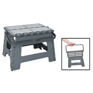 Simplify Step And Stow Folding Step Stool with Handle, 9 Inches (Option: Grey)
