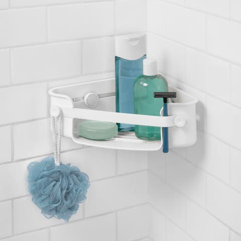 """Umbra 1004435 Flex 4 1/2"""" Tall ABS Plastic Corner Shower Caddy with Suction Cup Seal - White"""