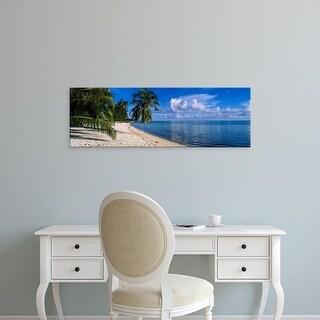 Easy Art Prints Panoramic Images's 'Palm trees on the beach, Matira Beach, Bora Bora, French Polynesia' Canvas Art