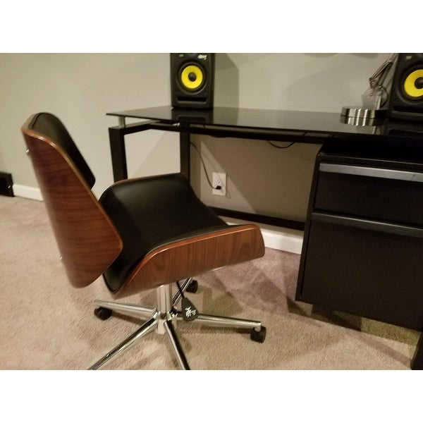 Shop Carson Carrington Herning Wood And Faux Leather Office Chair   Free  Shipping Today   Overstock.com   20543717