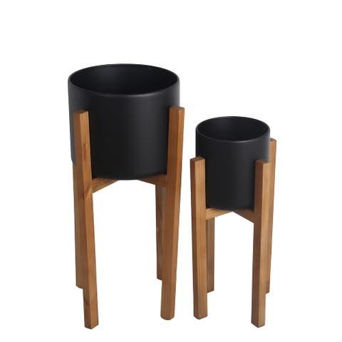 Set of 2 Black/Natural Metal/Wood Planters
