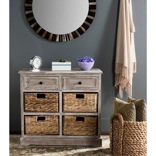 "Safavieh Herman White Washed 6-drawer Wicker Storage Unit - 29.9"" x 13"" x 27.6"""