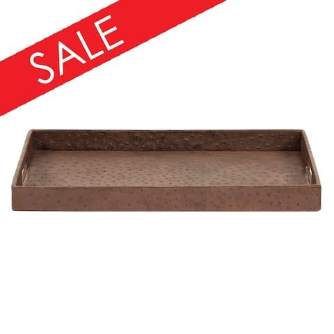 Walnut Brown Faux Leather Ostrich Tray - 1H x 20W x 13D