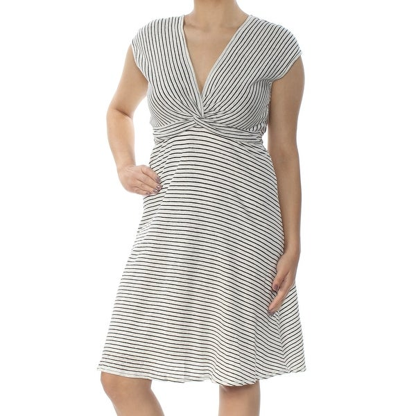 8a3a2484c8 Shop MAX STUDIO Womens Ivory Striped Twist Front Cap Sleeve V Neck Knee  Length Fit + Flare Dress Size  S - Free Shipping On Orders Over  45 -  Overstock - ...