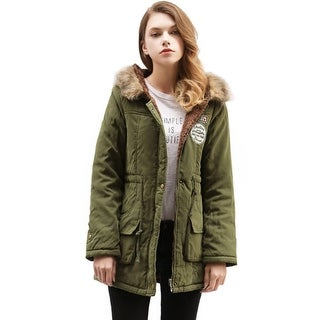 Women Warm Autumn Cotton  Parka Faux Fur Hooded Jacket Coat