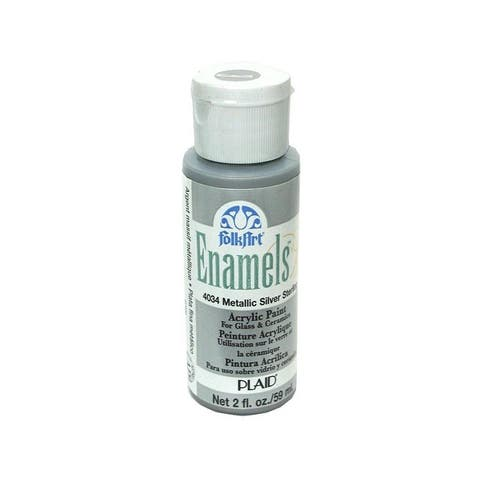 4034 plaid folkart enamels paint 2oz metallic silver