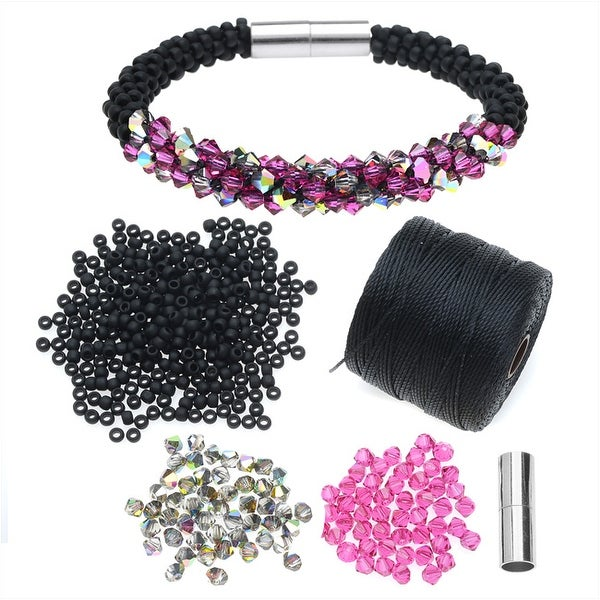 Refill - Deluxe Beaded Kumihimo Bracelet-Pink/Black - Exclusive Beadaholique Jewelry Kit