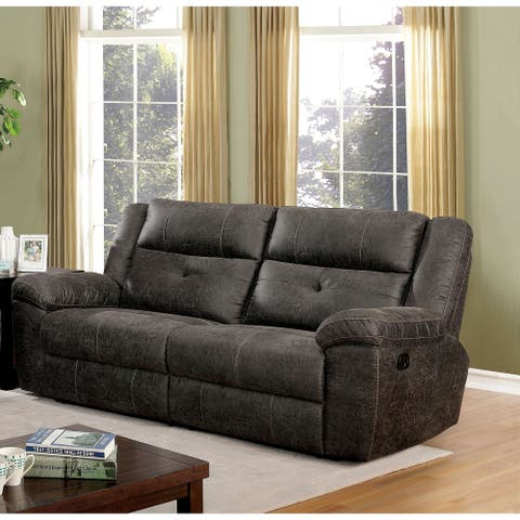 Furniture of America Feodosiya Dark Brown Reclining Sofa
