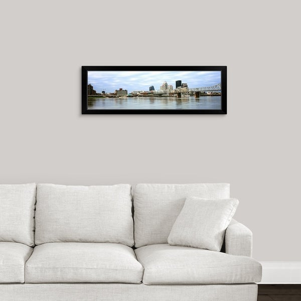 """George Rogers Clark Memorial Bridge with city skyline, Ohio River, Louisville, Kentucky"" Black Framed Print"