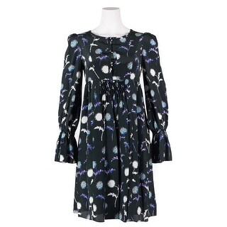 KENZO Womens Black Silk Dandelion Print Long-Sleeve Pleat Dress
