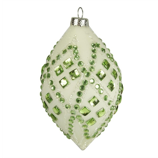 "4"" Good Tidings Ivory with Pastel Green Gems Glass Teardrop Christmas Ornament"