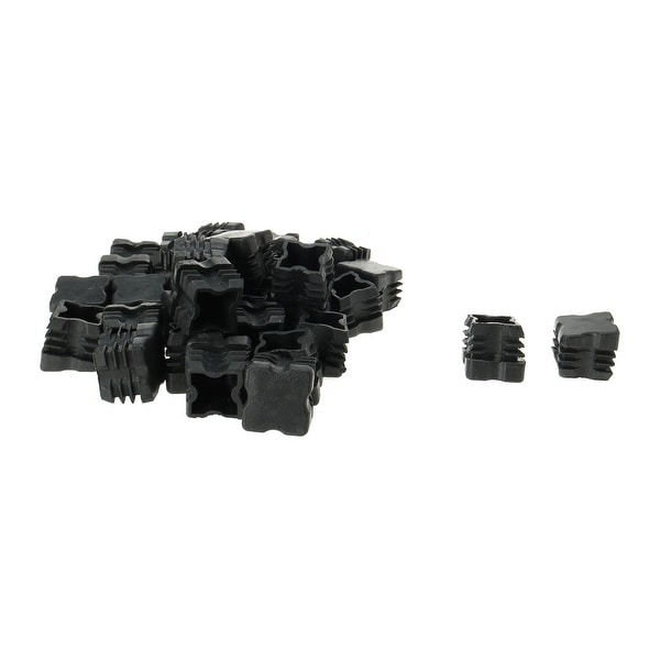 34pcs 25 x 25mm OD Plastic Angled Square Tube Ribbed Inserts End Cover Caps